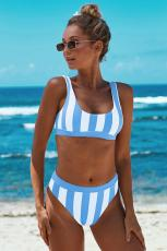 Sky Blue Athletic Striped Tank Bikini mit hoher Taille