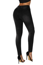Black Ripped Cutout Knee Denim Jeans