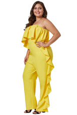 Yellow Prime Dreams Plus Size Strapless Ruffle Jumpsuit