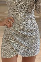 Silver Surplice Wrap Ruched Sequin Bodycon kjole