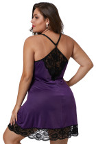 Purple Venecia Chemise dengan Lace Trim