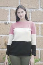 Rosa Miller Colorblock Mysig termisk topp