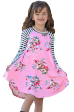 Merah muda Musim Semi Fling Floral Striped Sleeve Short Dress untuk Anak-Anak