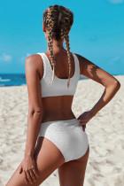 أبيض الرقبة حلج القطن أعلى محصول منتصف ارتفاع أسفل ملابس السباحة اثنين من قطعة