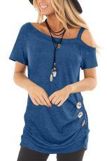 Top azul com mangas curtas casual e estilingue azul
