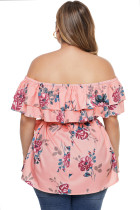 Pink Plus Size Floral Tiered Off the Shoulder Top