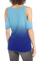 블루 그라데이션 콜드 숄더 매듭 트위스트 티셔츠