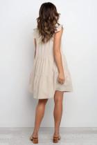 Bej Kısa Ruffled Kol V Yaka Katmanlı Toplanan Elbise