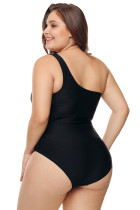One Cutout Side Shoulder Grid Plus Size Maillot Swimwear