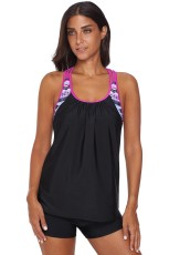 Rose Blouson Striped Printed Strappy T-Back Tryck upp Tankini Top