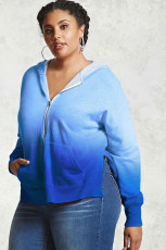 Blue Plus Size Ombre Terry hettegenser