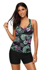 Πράσινο Floral τυπωμένο μπλουσόν Tankini Top