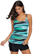 Greenish Stripes Strappy Tankini Badedrakt Top