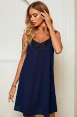 Gaun Mini Tanpa Lengan Biru V Neck Lace