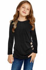 Top lateral abotonado de manga larga negro para niñas
