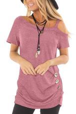 Blusa com mangas curtas rosa estilingue casual