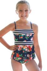 Niebieski granatowy strój kąpielowy w kwiaty Peplum Little Girls