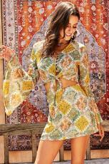 노란 복고풍 종 소매 앞 매듭 2 Pcs 드레스
