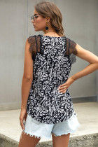 Black Animal Print Contrast Lace Tank