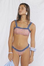 Himmelsblå blommotryck Beskär Top Bikini Set