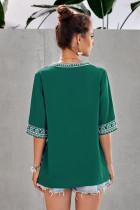 Blusa de manga larga verde escote boho V