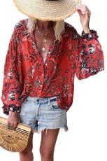 레드 보홀 아래 V 넥 꽃 무늬 프린트 셔츠