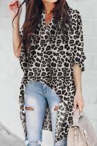 Blusa com Estampa de Leopardo Irregular Cinza