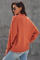 เสื้อสเวตเตอร์คอเต่าแขนยาวสีส้มอ้วนตัน
