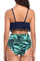 Grüner Badeanzug mit hoher Taille