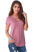 Rosa Criss Cross Neck Retro Blumendruck zurück T-Shirt