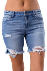 Синие джинсовые рваные рваные шорты
