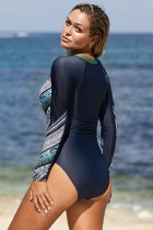 Sky Blue Long Sleeve Printed Zipper Surfing Rash Guard One Piece Swimsuit