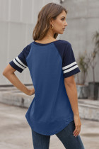 Blue Color Block Contrast Short Sleeve T-shirt