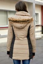 Khaki utomhus vadderad jacka för kvinnor