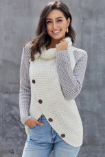 ปุ่มเทาเต่าครอบคอ Asymmetric เฮ็มตัด Pullover เสื้อกันหนาว