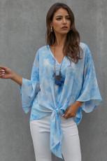 Sky Blue Tie Dye V Neck Top