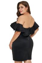 黒のレイヤードフリルオフショルダープラスサイズのドレス