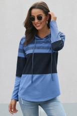 Hemelsblauwe kleurblok hoodie met trekkoord