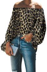 Leopard Εκτύπωση Ελαστικό λαιμό από την κορυφή ώμων