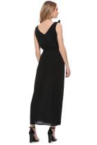 Schwarzes Bowknot-Schultergurt-Jersey-Kleid mit Gürtel
