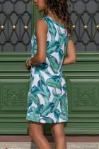 블루 / 그린 리프 프린트 탱크 드레스