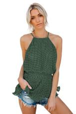 Yeşil Polka Dot Pileli Kravatlı Üst