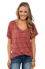 Red Get The Party Started Striped Pocket Tee