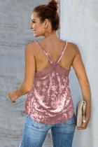 Růžová sametová krajka Cami Tank