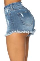 Темно-синие джинсовые шорты с высокой талией