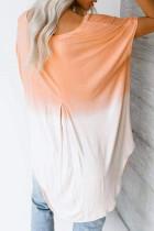 Camicia estiva casual color block color arancio bianco