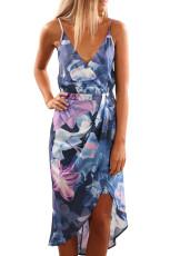 Sky Blue Květinový Tisk Boho šaty