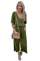 Green V Neck Pocket String-bundet Jumpsuit