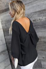 Schwarze Bowknot-Bluse mit V-Ausschnitt und Dreiviertelärmeln