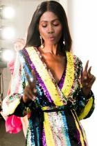 Vícebarevná Sequin Mini šaty